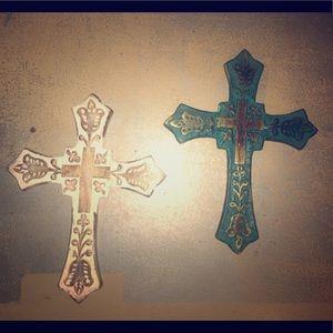 Set of wooden folk art Crosses.